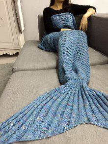 Hollow Out Crochet Knit Mermaid Blanket Lancer - Bleu Clair