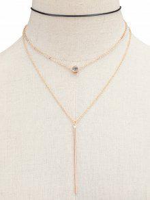Layered Rhinestone Bar Necklace - Golden