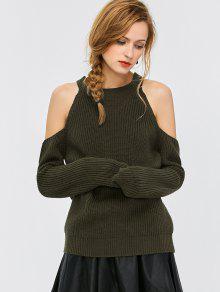 Cold Shoulder Suéter De Cuello Redondo Acanalado - Verde Del Ejército M