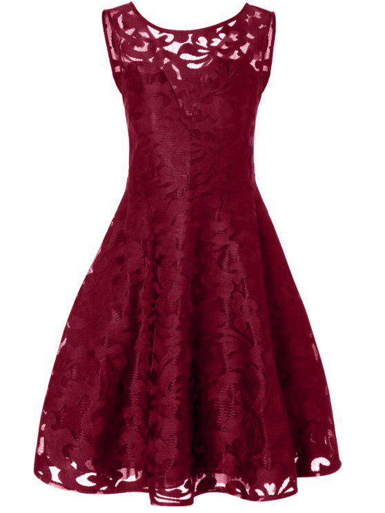 فستان دانتيل شير الحجم الكبير كلاسيكي - عنابي اللون L