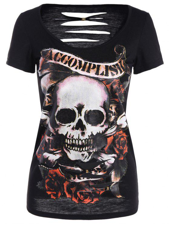 Cráneo de Halloween Imprimir rasgado la camiseta - Negro S