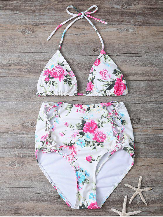 Impresión floral del bikini de talle alto Set - Floral S