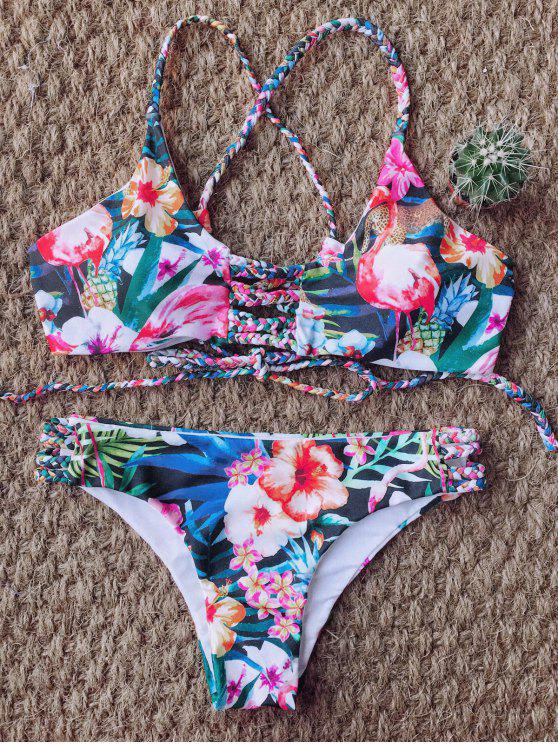 best Floral Print Braided Strappy Bikini - FLORAL M