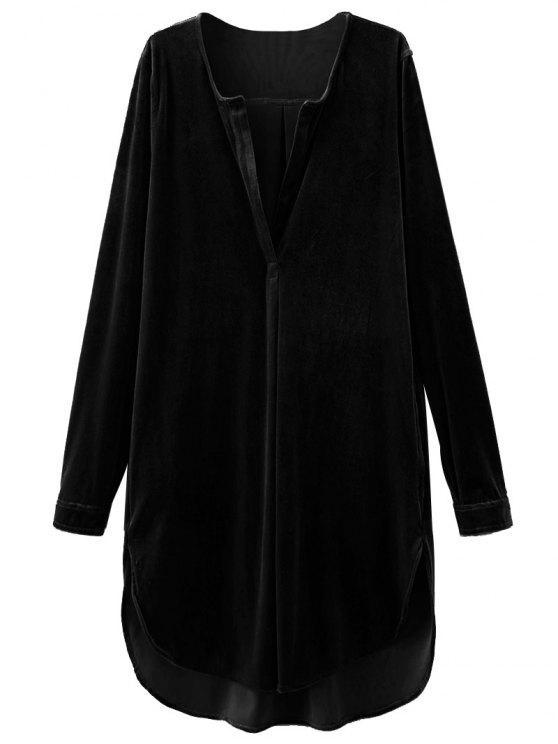 Dividir cuello vestido de la túnica de terciopelo - Negro L