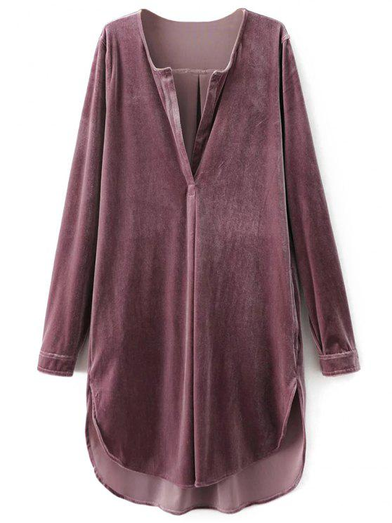 shop Split Neck Velvet Tunic Dress - PINK SMOKE M