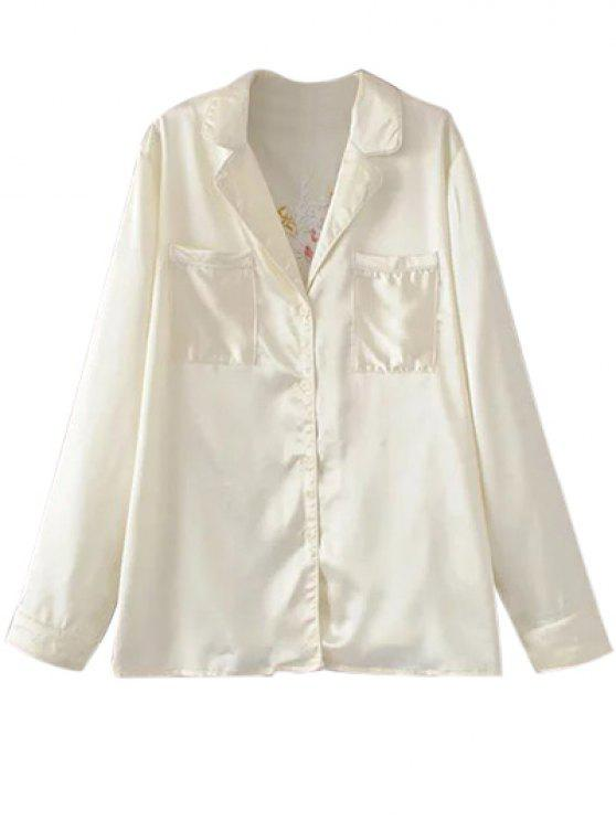 lady Satin Embroidered Pajama Shirt - OFF-WHITE S