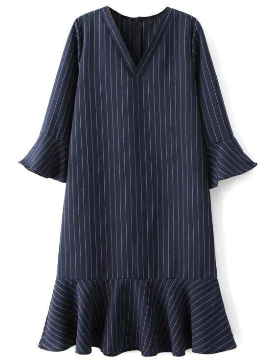 32beee0cf0 2019 Frill Hem Striped Tunic Dress In PURPLISH BLUE M