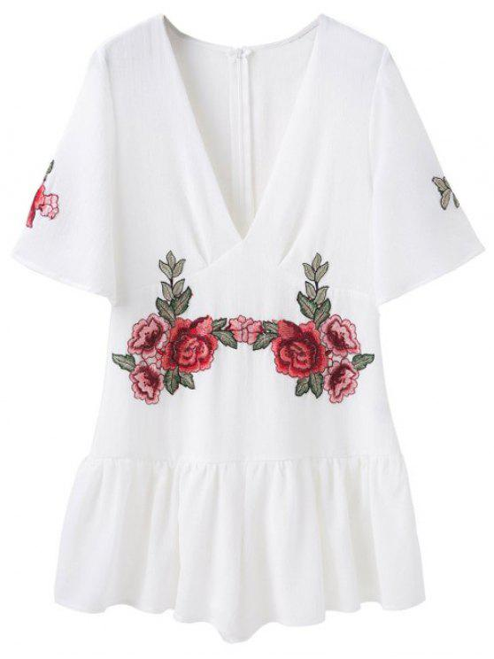 lady Embroidered Patches Ruffle Romper - WHITE S