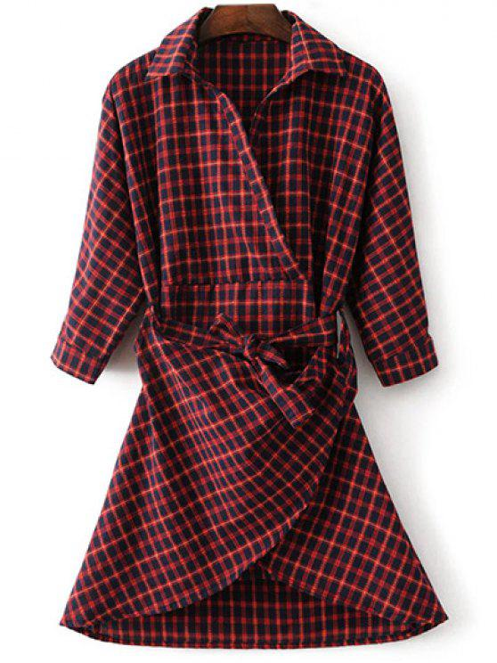 Asymétrique Belted Plaid Shirt Dress - Rouge M