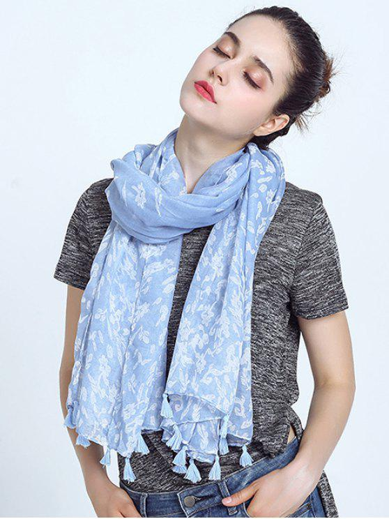 shop Oblong Leaf Print Voile Scarf with Tassel Pendant Edge - SKY BLUE