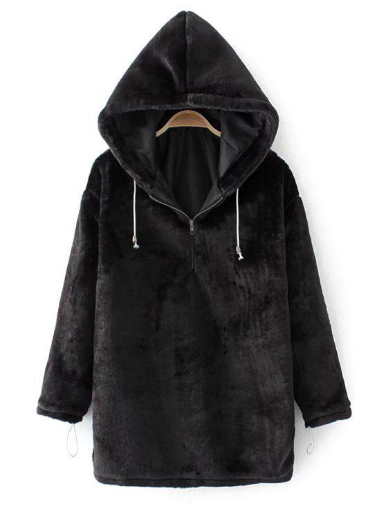 Media cremallera con capucha con cordón de terciopelo - Negro L