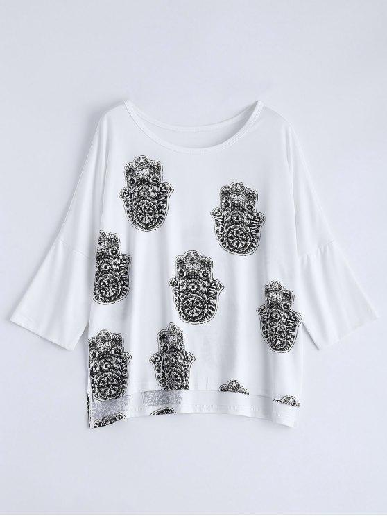 Alto Bajo Impreso camiseta floja - Blanco M