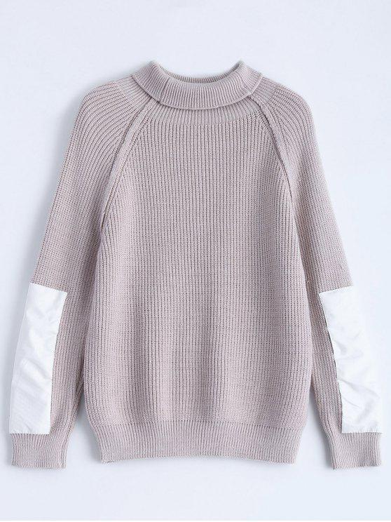Remiendo de la manga del suéter de Chunky - Gris Púrpura Única Talla