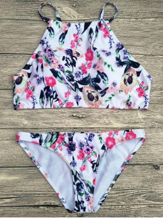 51b343e9cd 20% OFF] 2019 Floral Printed Spaghetti Strap Bikini Set In WHITE | ZAFUL