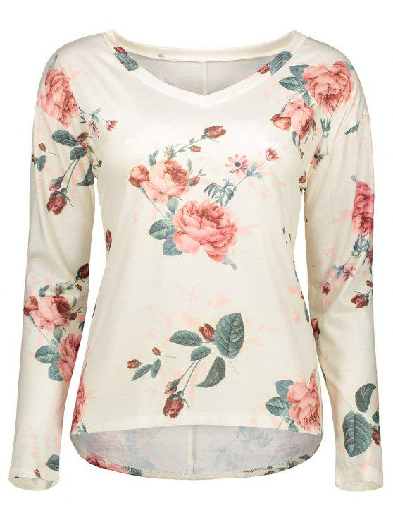 outfit V Neck Long Sleeve Floral Tee - OFF-WHITE M