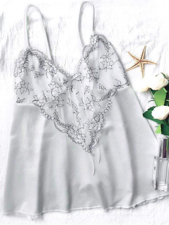 women Lace Satin Babydoll Slip Dress - WHITE M