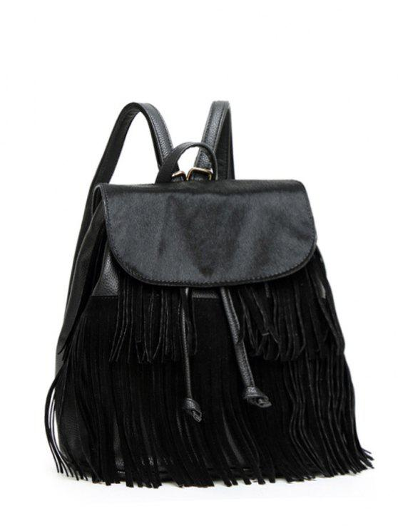 outfit Fringe Faux Horsehair Panel Backpack - BLACK