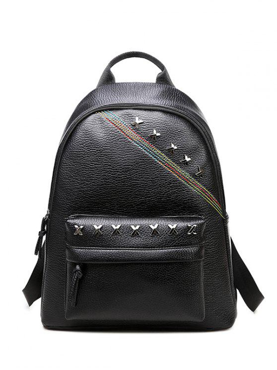 chic Criss Cross Faux Leather Backpack - BLACK