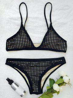 Square Laser Cut Bikini Top And Bottoms - Black S