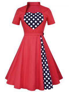 Robe Vintage Taille Haute à Pois - Rouge M