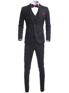 Pocket Notch Lapel Single Button Three Piece Suit - Black M