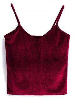 Velvet Cropped Cami Top - Red