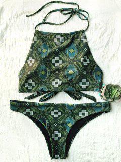Tile Print High Neck Bikini - Olive Green S