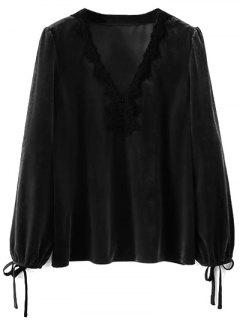 Sleeve Tie Lace Trim Velvet Blouse - Black S