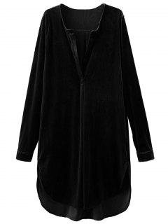 Split Neck Velvet Tunic Dress - Black S