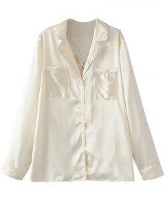 Satin Embroidered Pajama Shirt - Off-white S