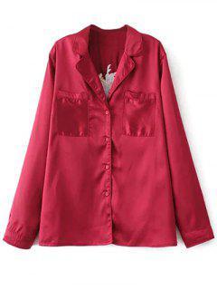 Satin Embroidered Pajama Shirt - Burgundy M