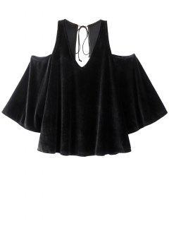 Billowy Cold Shoulder Velvet Blouse - Black S