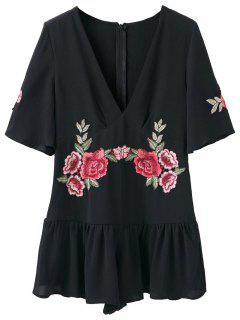 Embroidered Patches Ruffle Romper - Black S