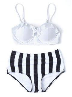 Bikini Rayé Taille Haute Avec Armature - Blanc S