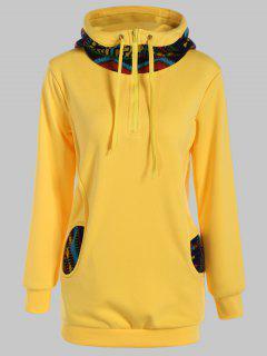 Half Zip Print Panel Hoodie - Yellow S