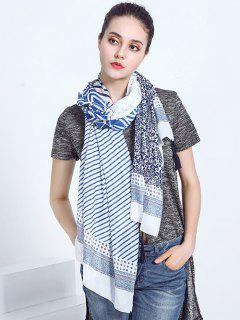 Oblong Voile Scarf With Striped Leaf Printed - Blue And White