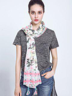 Leaf Rhombus Print Voile Scarf With Tassel Edge - White
