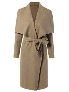Tie Waist Shawl Collar Wrap Coat - Camel Xl