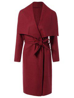 Tie Waist Shawl Collar Wrap Coat - Red S