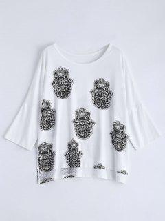 Alto Bajo Impreso Camiseta Floja - Blanco L