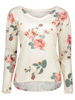 V Neck Long Sleeve Floral Tee - Off-white S