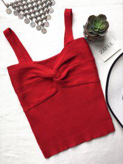 Front Twist Ribbed Tank Knitwear - Red
