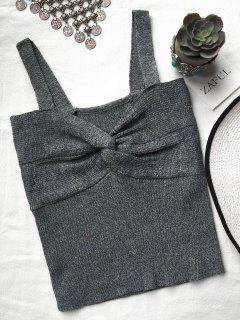 Front Twist Ribbed Tank Knitwear - Deep Gray