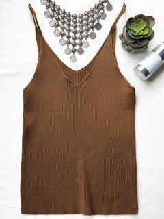 Spaghetti Strap Ribbed Knitted Top - Brown