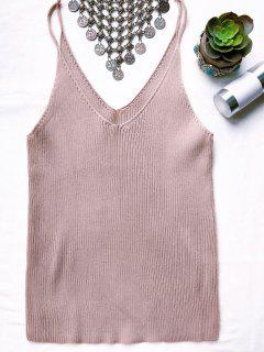 Spaghetti Strap Ribbed Knitted Top - Pale Pinkish Grey