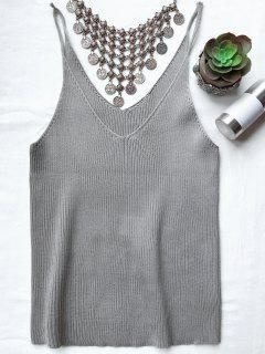 Spaghetti Strap Ribbed Knitted Top - Smoky Gray