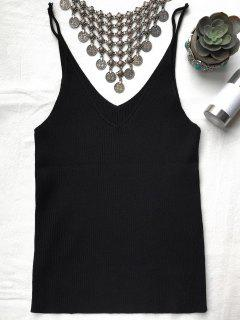 Spaghetti Strap Ribbed Knitted Top - Black