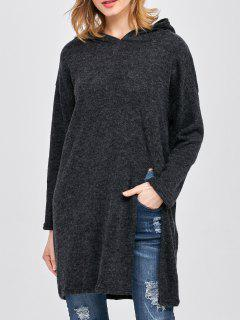 High Slit Hooded T-Shirt - Black