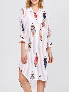 Cartoon Print Pleated Shirt Dress - White