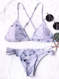 Tie Dyed Thong Bikini - Grey And White S